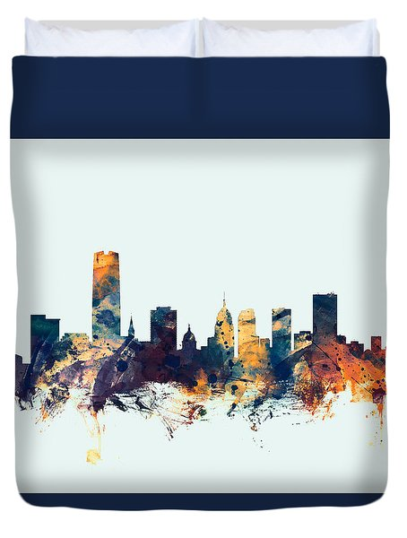 Oklahoma City Skyline Duvet Cover
