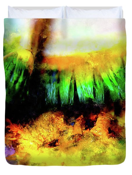 Paint Brushes To The Painting Palette And Softly Blurred Watercolor Background. Duvet Cover