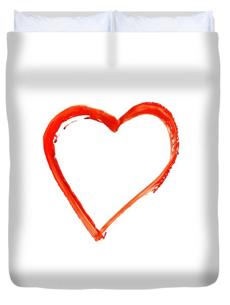 Duvet Cover featuring the drawing Painted Heart - Symbol Of Love by Michal Boubin