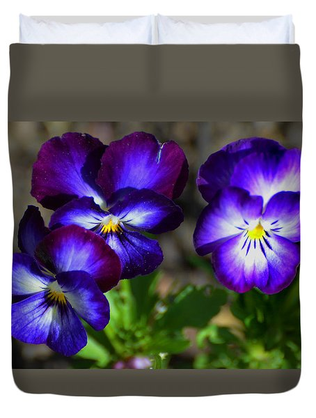 Duvet Cover featuring the photograph 3 Pansies by Kathleen Stephens