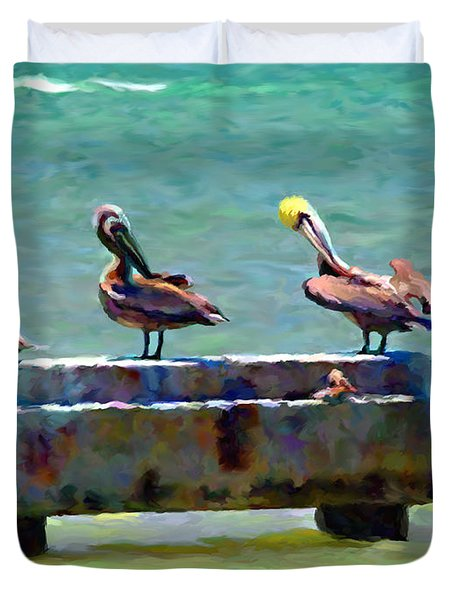 Duvet Cover featuring the painting 3 Pelicans by David  Van Hulst