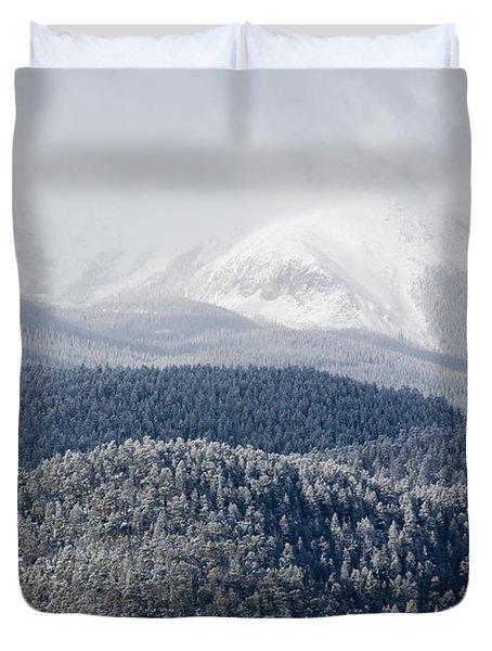 Pikes Peak In Snow Duvet Cover