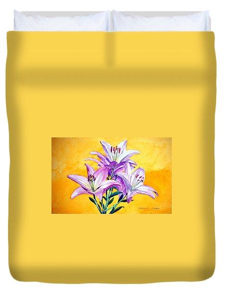 3 Pink Lilies Duvet Cover by Dennis Clark