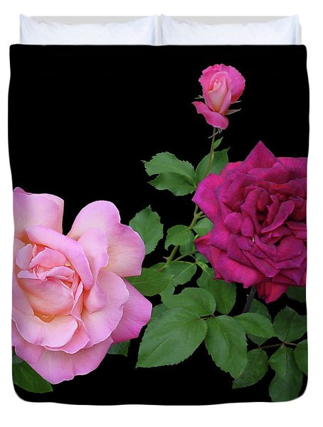 3 Pink Roses Cutout Duvet Cover by Shirley Heyn