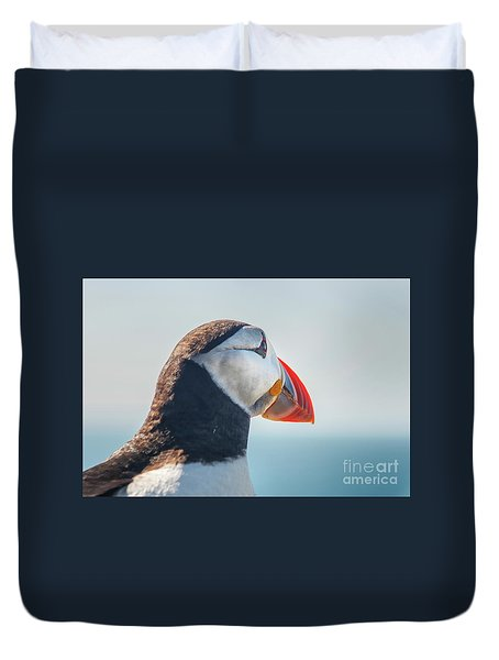 Duvet Cover featuring the photograph Puffin In Close Up by Patricia Hofmeester