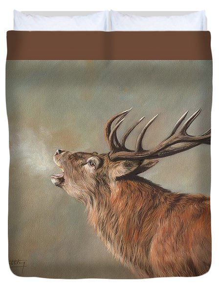 Duvet Cover featuring the painting Red Deer Stag by David Stribbling