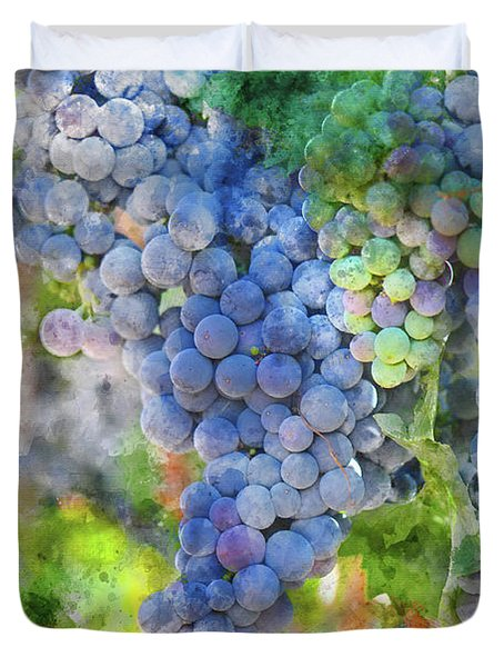 Red Wine Grapes On The Vine Duvet Cover