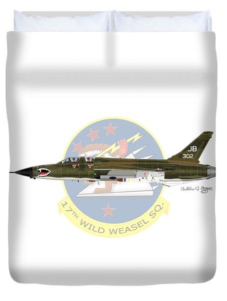 Republic F-105g Wild Weasel 17ww Duvet Cover by Arthur Eggers