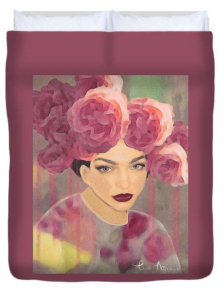 Duvet Cover featuring the digital art Rose by Lisa Noneman