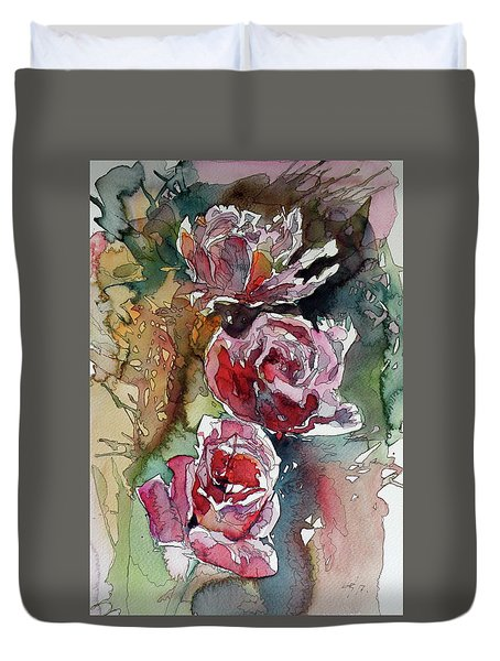 Duvet Cover featuring the painting Roses by Kovacs Anna Brigitta