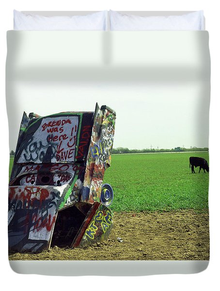Route 66 - Cadillac Ranch Duvet Cover by Frank Romeo