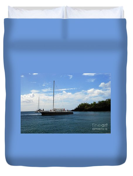Duvet Cover featuring the photograph Sail Boat by Gary Wonning