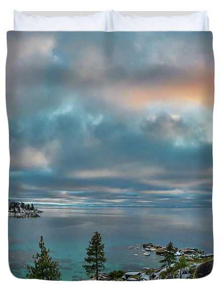 Sand Harbor Sunset Duvet Cover