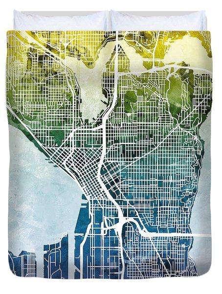 Seattle Washington Street Map Duvet Cover by Michael Tompsett