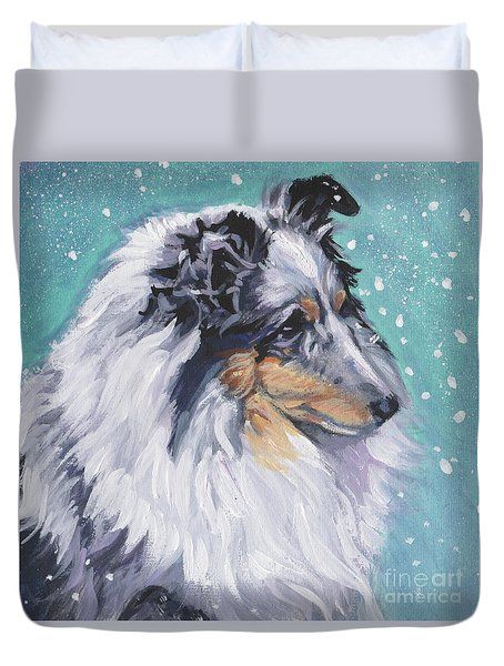 Duvet Cover featuring the painting Shetland Sheepdog by Lee Ann Shepard