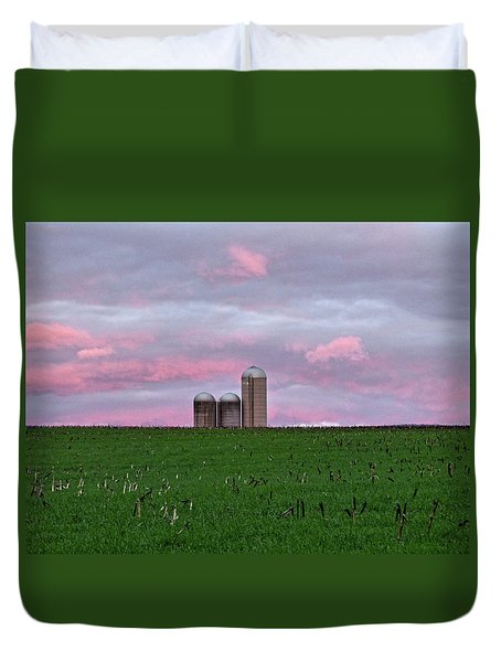 Duvet Cover featuring the photograph 3 Silos by Robert Geary
