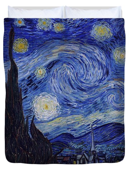 Duvet Cover featuring the painting Starry Night by Van Gogh