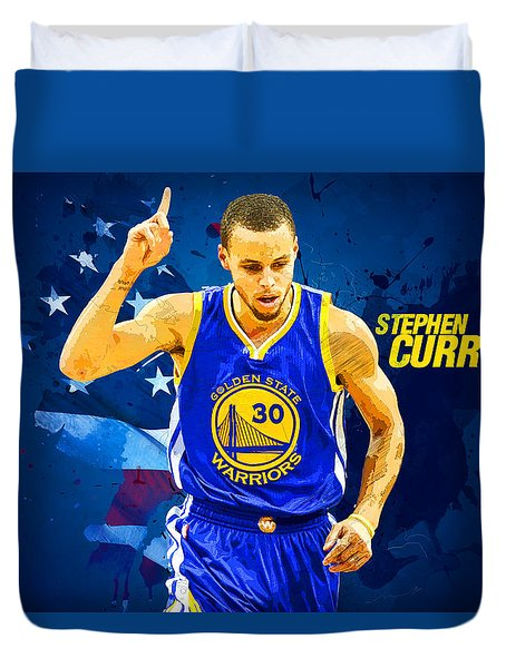 Stephen Curry Duvet Cover by Semih Yurdabak