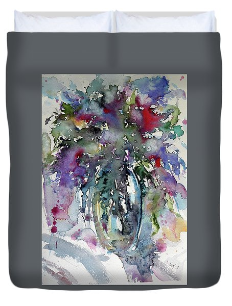 Duvet Cover featuring the painting Still Life by Kovacs Anna Brigitta