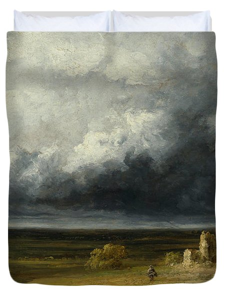 Stormy Landscape With Ruins On A Plain Duvet Cover