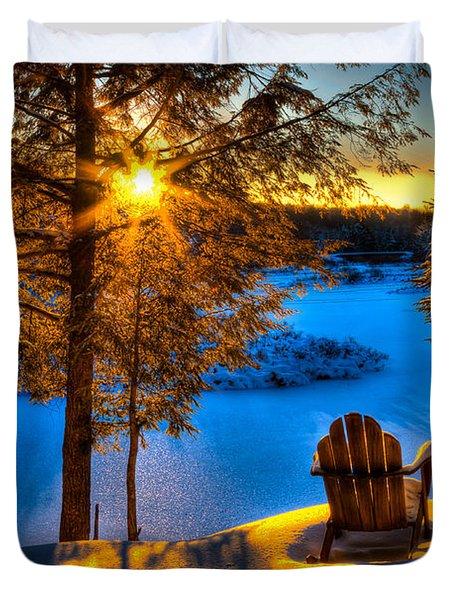 Sun Setting On The Moose River Duvet Cover