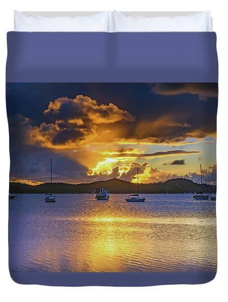Sunrise Waterscape With Clouds And Boats Duvet Cover