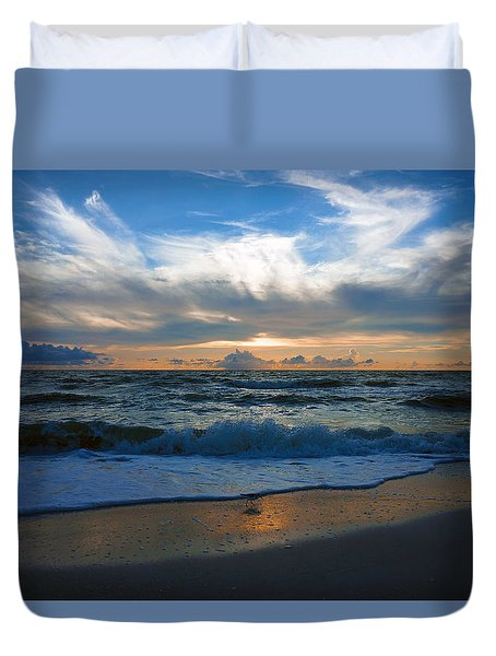 Sunset At Delnor-wiggins Pass State Park Duvet Cover