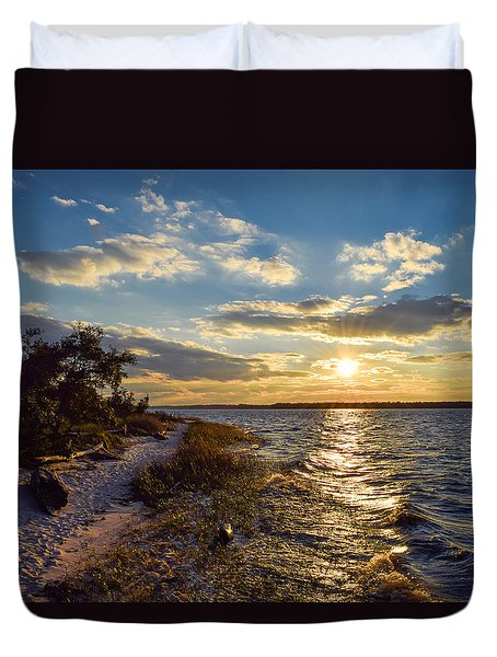 Sunset On The Cape Fear River Duvet Cover