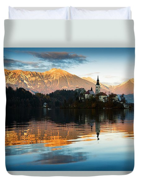 Duvet Cover featuring the photograph Sunset Over Lake Bled by Ian Middleton