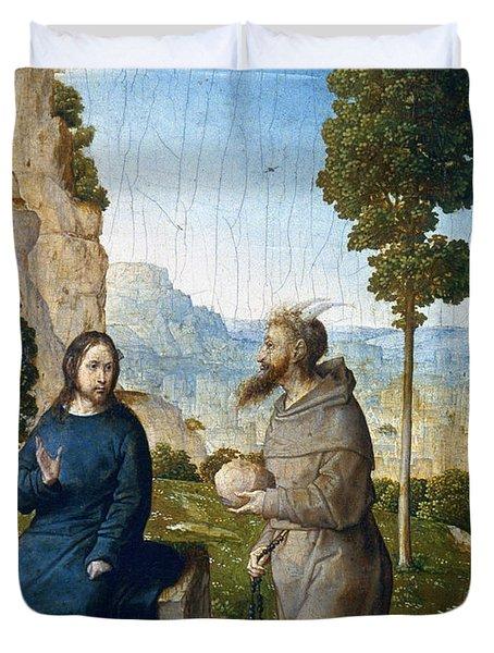 Temptation Of Christ Duvet Cover