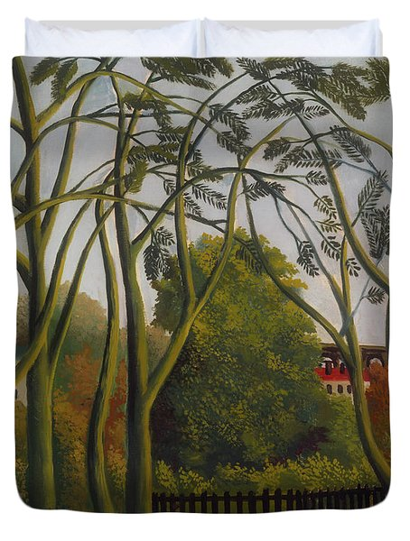 Duvet Cover featuring the painting The Banks Of The Bievre Near Bicetre by Henri Rousseau