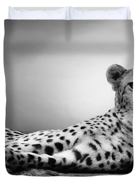 Duvet Cover featuring the photograph The Cheetah by Christine Sponchia