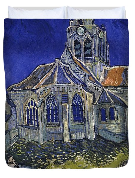 The Church At Auvers Duvet Cover