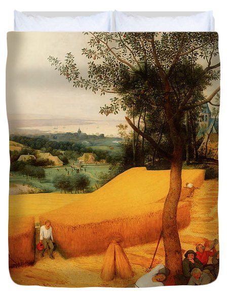 Duvet Cover featuring the painting The Harvesters by Pieter Bruegel The Elder