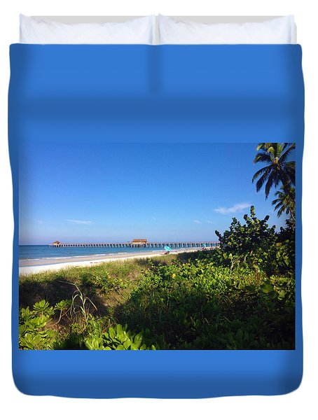 The Historic Naples Pier Duvet Cover