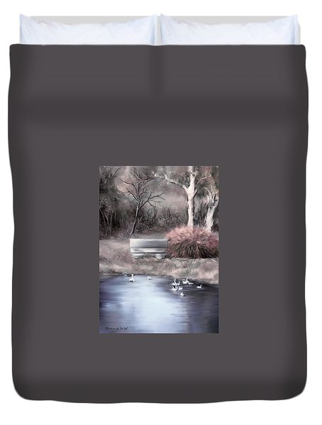 Duvet Cover featuring the digital art the Pond by Bonnie Willis