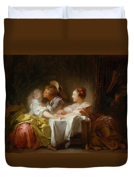 Duvet Cover featuring the painting The Stolen Kiss by Jean-Honore Fragonard