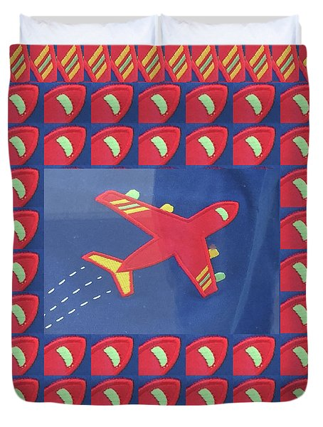 Duvet Cover featuring the digital art Theme Aviation Aeroplanes Aircraft Travel Holidays Christmas Birthday Festival Gifts Tshirts Pillows by Navin Joshi