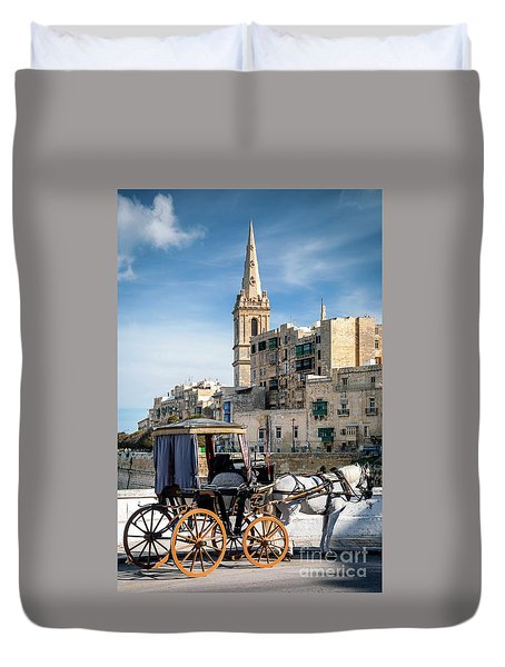 Tourist Horse Carriage In Old Town Street La Valletta Malta Duvet Cover