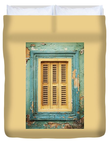 Traditional House Window Architecture Detail La Valletta Old Tow Duvet Cover