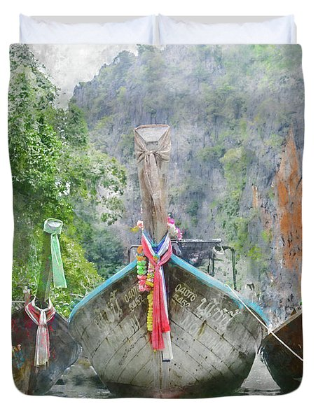 Traditional Long Boat In Thailand Duvet Cover