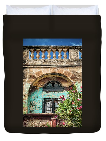 Traditional Mediterranean Maltese House Exterior Detail In Gozo  Duvet Cover