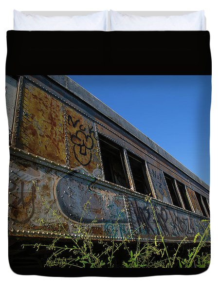 Duvet Cover featuring the photograph Train Art by Dart Humeston