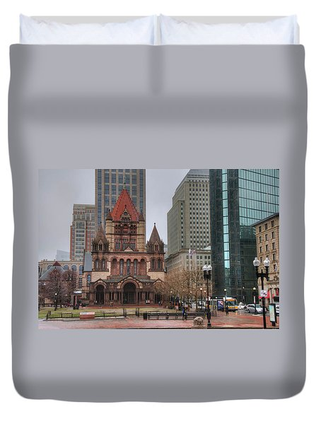 Duvet Cover featuring the photograph Trinity Church - Copley Square - Boston by Joann Vitali