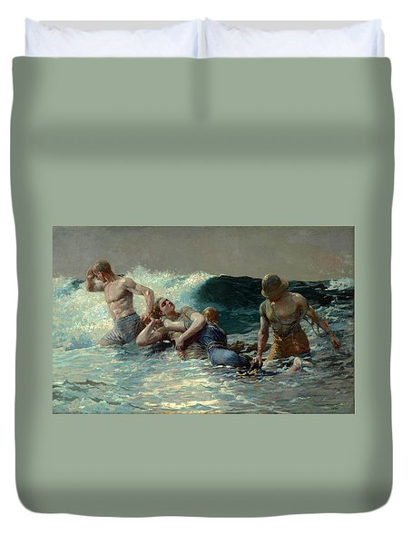 Duvet Cover featuring the painting Undertow by Winslow Homer
