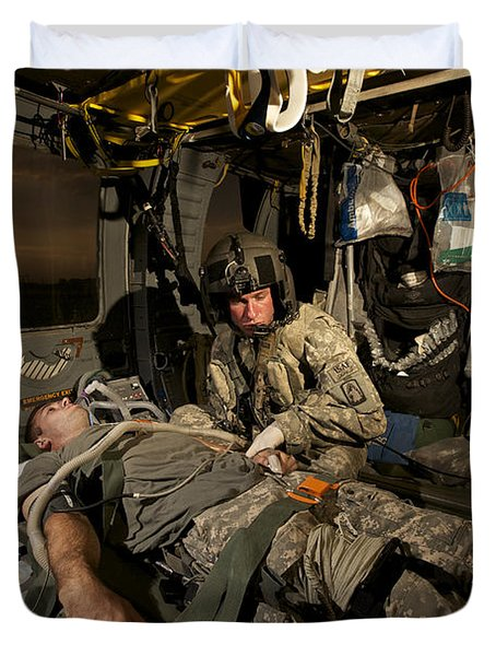 U.s. Army Specialist Practices Giving Duvet Cover by Terry Moore