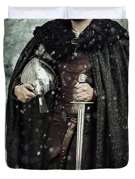 Viking Warrior With Sword Duvet Cover