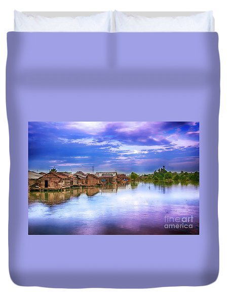 Duvet Cover featuring the photograph Village by Charuhas Images