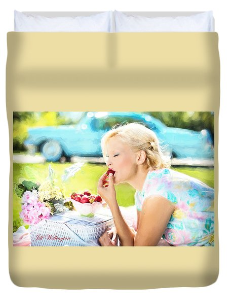 Vintage Val In The Turquoise Vintage Car Duvet Cover