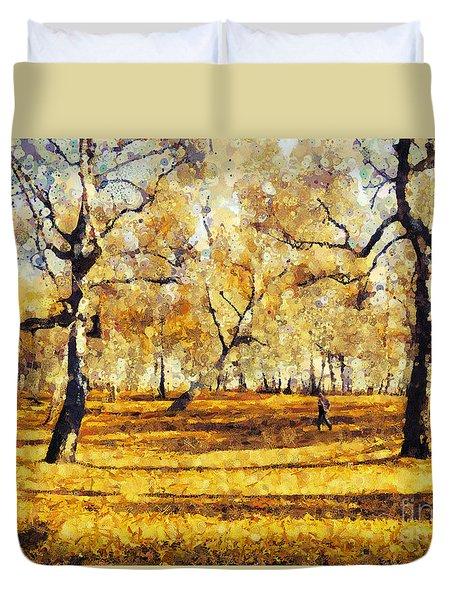 Watercolor Landscape Autumn Painting Forest Duvet Cover